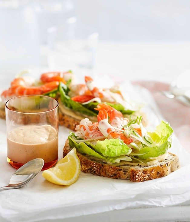 Australian Gourmet Traveller fast recipe for open prawn sandwiches with anchovy mayonnaise.
