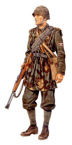 Waffen SS - SS-Schütze, 1ª Brigata Italiana, fronte di Nettuno, aprile 1944.