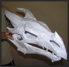 The Elder Scrolls V: Skyrim - Dragonbone Skull Free Papercraft Download…