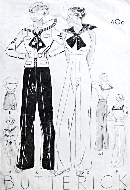 1930s Nautical Pants, Halter and Shorts Pattern Butterick 6627 Fab 30s High Waist Sailor Pants, Sailor Collar Halter Top and Side Button Shorts Thirties Vintage Sewing Pattern Bust 34