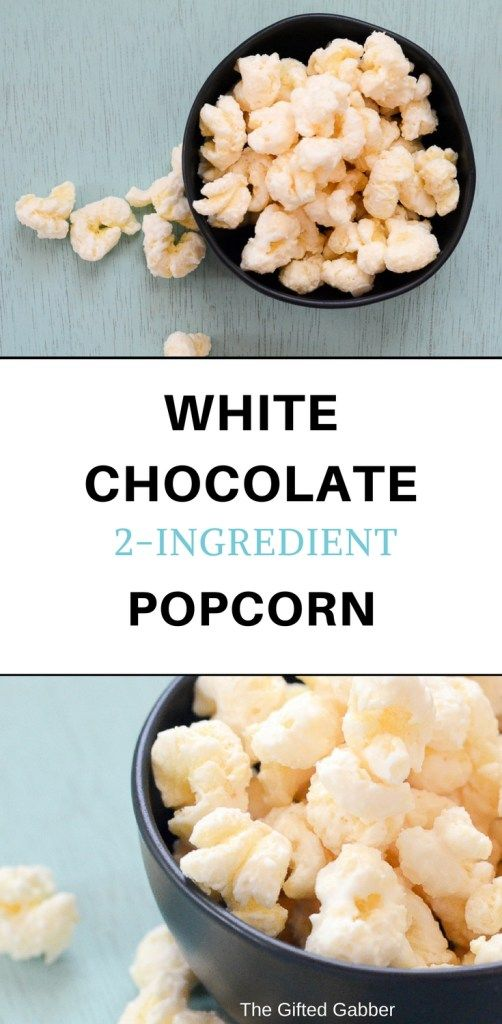 White Chocolate Popcorn in black bowl - The Gifted Gabber