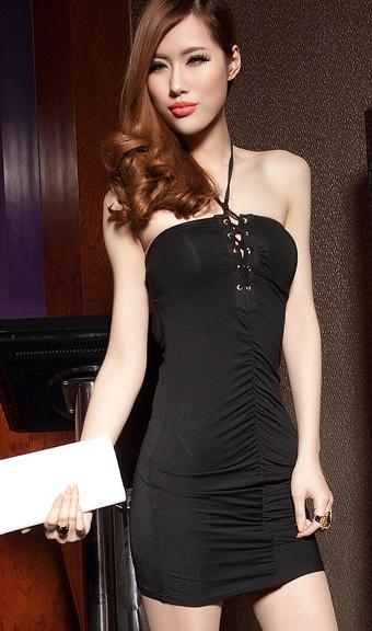 Western Nightclub Sexy Strapless backless dress