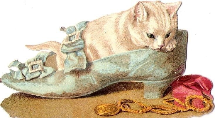 Oblaten Glanzbild scrap die cut chromo Katze cat chat shoe Helena Maguire kitten: