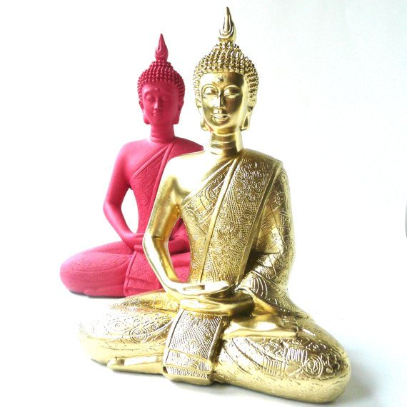 Hot Pink Buddha Statue Bohemian Home Decor Upcycled By