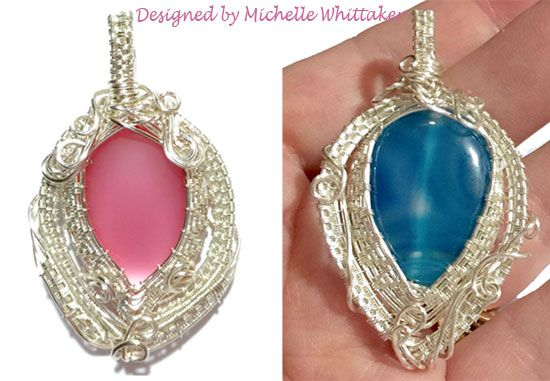 Wire Weave Bezel Techniques using Lunasoft cab (Pink) and Gemstone Beads (Blue)