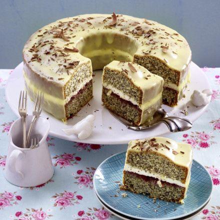 Mohnkuchen mit weißer Schokolade Rezept
