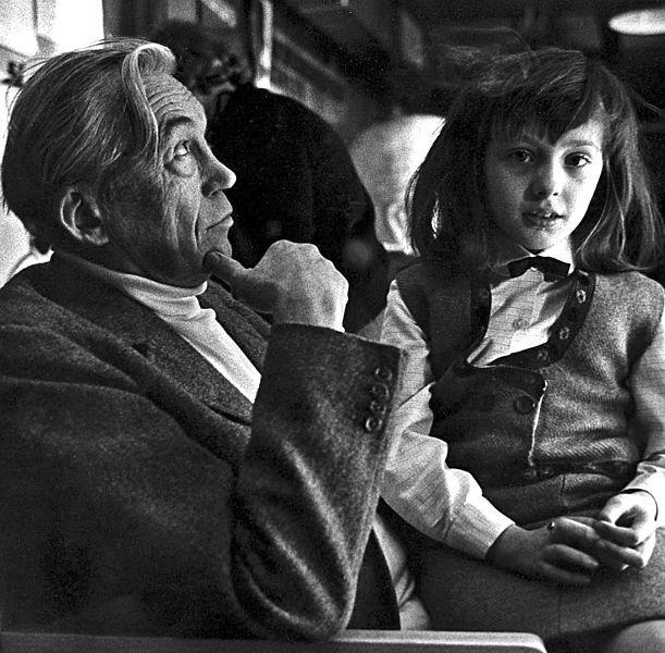 JOHN HUSTON (1906-1987) AND HIS DAUGHTER ANGELICA HUSTON, 1950s