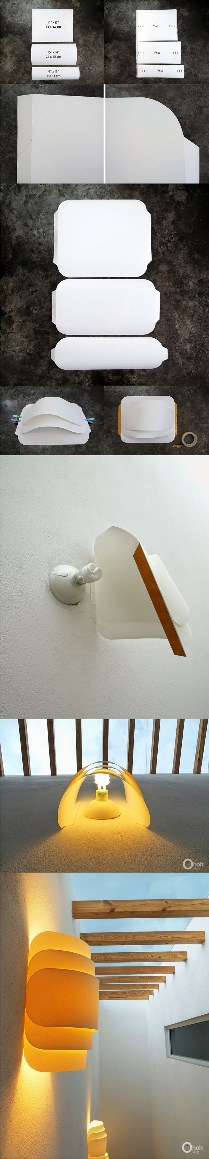 Lámpara de pared con papel doblado / Via www.Ohohblog.com