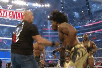 | Stone Cold Steve Austin and Xavier Woods | Stone Cold Stunner | WrestleMania |
