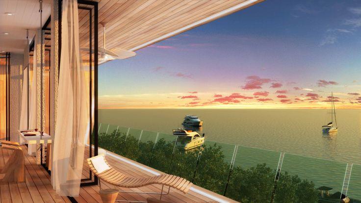 Kızılada project by Net Mimarlık. A private island with a jetty, restaurant, cafe, bar,lounge area, spa and accommodations.