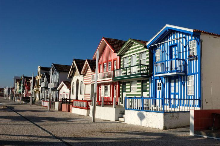 Costa Nova (near Aveiro), Portugal is famous for its striped houses. Original Source: http://www.travel-in-portugal.com/photos/img621.htm #beach