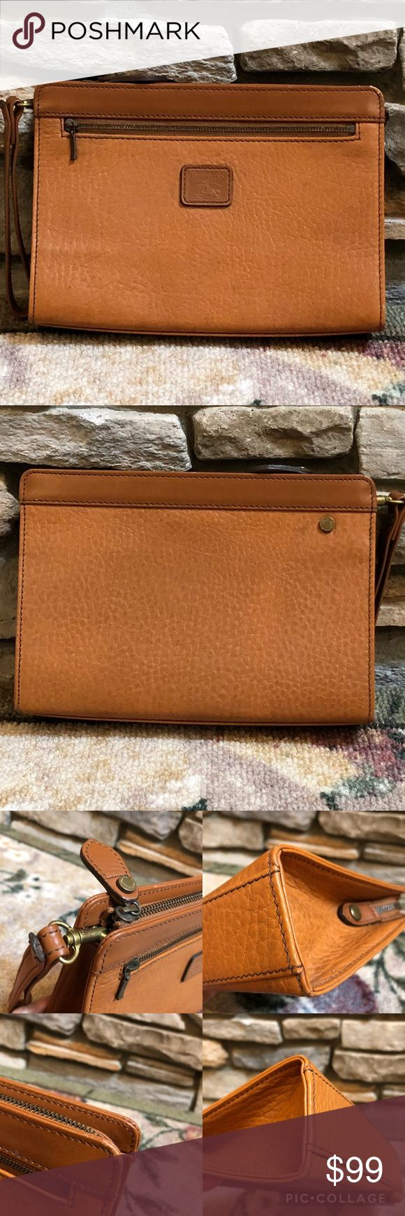 Vintage Burberrys Clutch Vintage Vintage  Authentic Burberrys Label Tag  Leather Brown  Preowned  Has signs of wear  Please check all photos  Very Good Condition  Size L 9-1/2 x H 6-1/2 x D 2-1/4 inches  Ready to use Burberry Bags Clutches & Wristlets