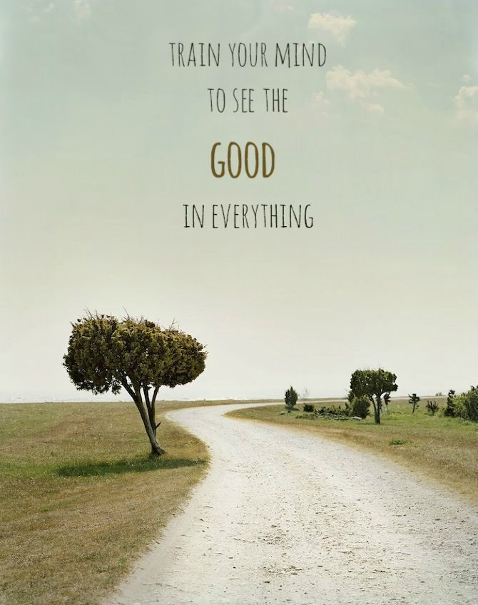Image with Italian landscape and positive quote: Train your mind to see the good in everything.