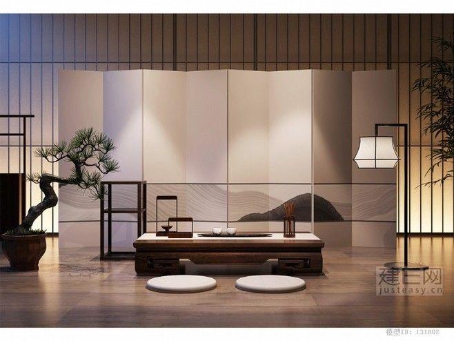 新中式茶室#茶几茶具组合#效果图#模型下...