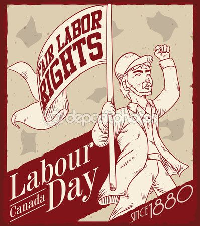 Retro Poster with Man Demanding Fair Labor Rights