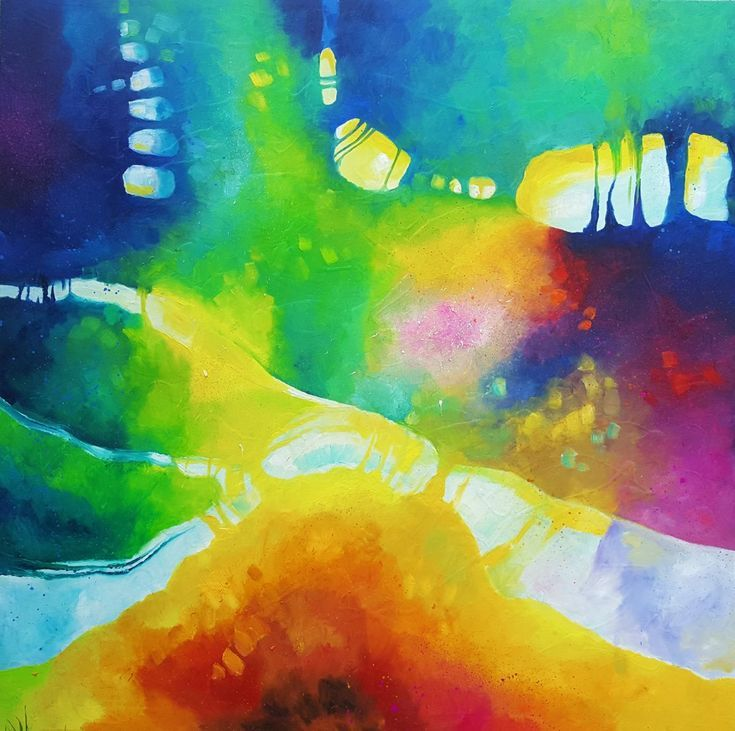 Buy Acid jazz in September  (120x120cm, oil painting), Oil painting by Simon Tünde on Artfinder. Large abstract oil painting.