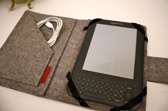 Kindle, Kindle Touch, Kindle 3, Kindle Fire Book Case Wool Felt in Granite