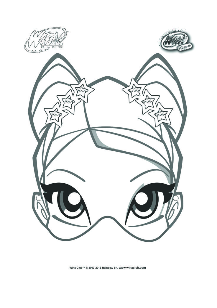 Stella mask to color and decorate for winx club birthday party.