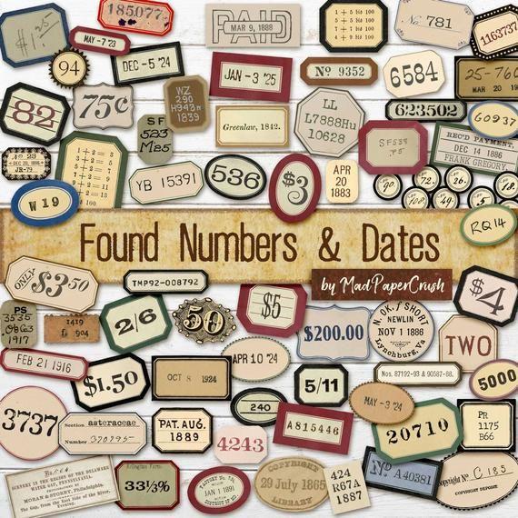 Digital labels digital junk journal numbers printable random numbers journal labels ephemera numbers collage sheet paper crafting numbers