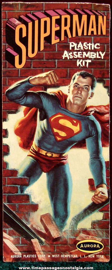 Original Aurora Superman  Plastic Model Kit Box Cover Art