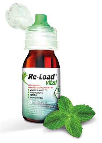 Re-Load vital ist ein vitalisierendes Nahrungsergänzungsmittel in flüssiger Form. Mit Koffein, Vitamin B-Komplex und Mineralstoffen versteht sich die ausgeklügelte Mixtur mit der schlauen Dosierungslösung als Ad Hoc Hilfe.