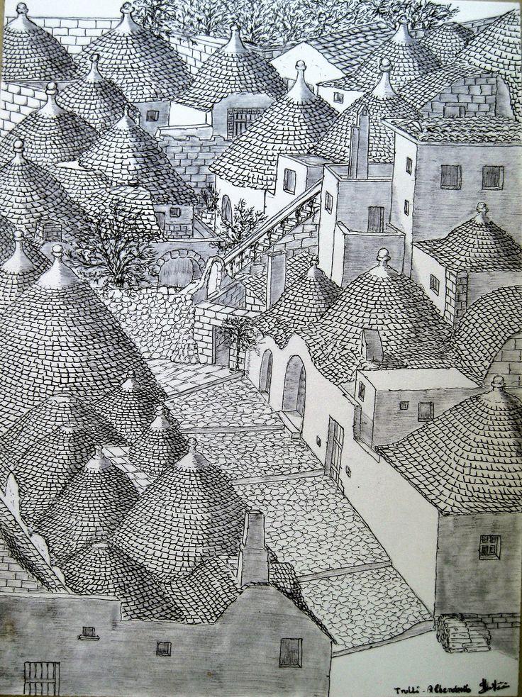 Trulli_disegno a penna_Maurizio Santini.