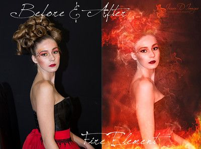 Fire Element - Before and after image - Digital art by Jessie D Images