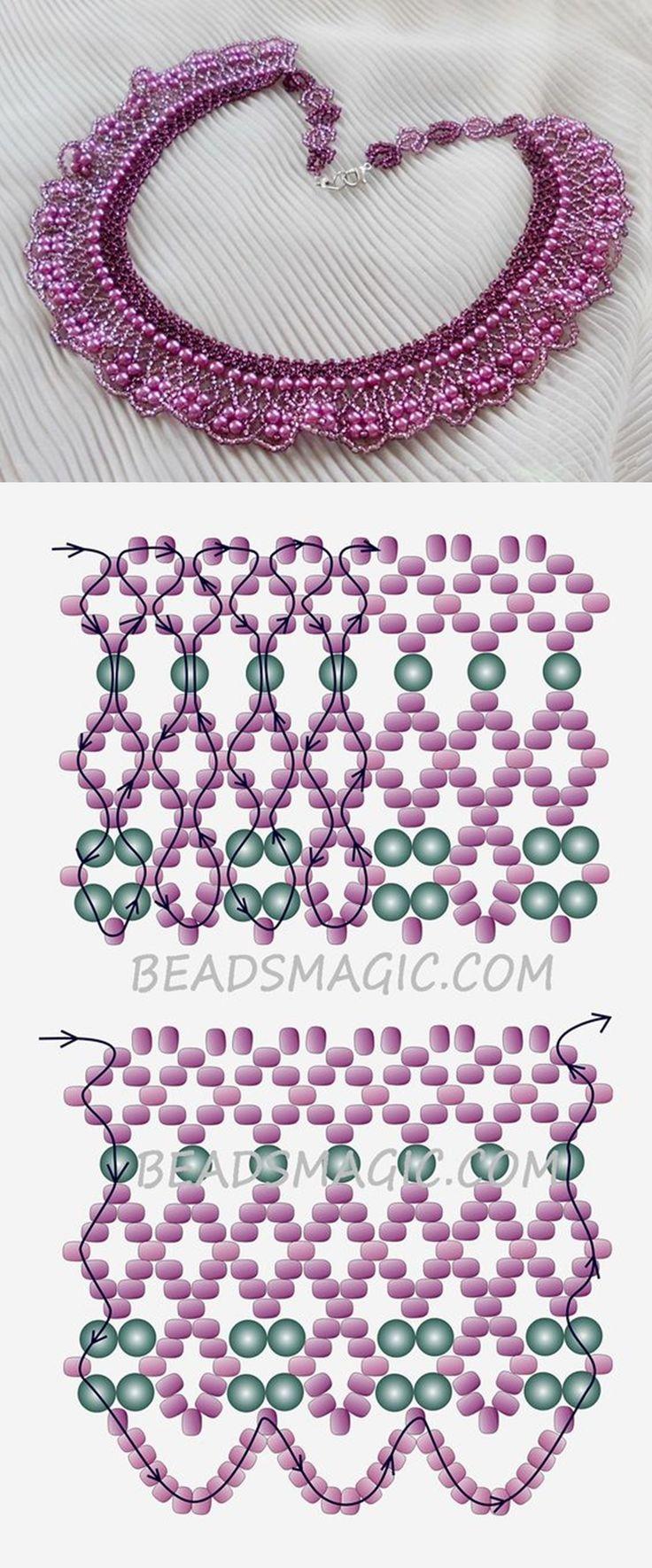 Ingyenes minta nyaklánc Purple Rain | gyöngyök a magic kásagyöngyök 11/0 gyöngyház gyöngyök 4 mm