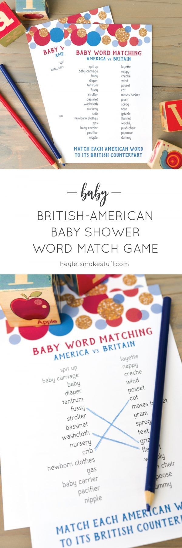 Test Your Knowledge Of American And British Baby Words With This Fun Baby  Shower Matching Game