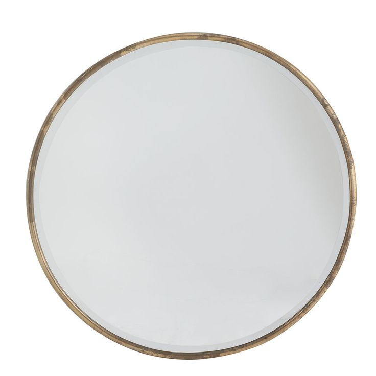 """Dimensions: 38""""dia. x 1""""d *Will want to double check all mirror dims at next meeting.  Gilt Minimalist Mirror"""