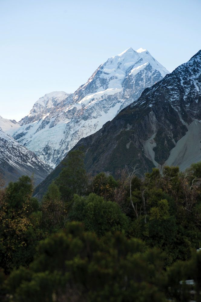 A view from The Hermitage hotel toward Aoraki Mount Cook, New Zealand's highest peak.