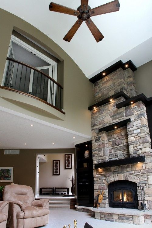 ventanitaIdeas, Stones Fireplaces, Living Rooms, Livingroom, Dreams House, Family Rooms, Master Bedrooms, High Ceilings, Families Room