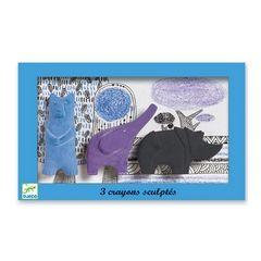 PERIZITITO: Djeco Κηρομπογιές σετ τρία σχήματα αρκουδάκι-ελεφαντάκι-ρινοκεράκι: Djeco: Παιχνίδια: 3070900088696