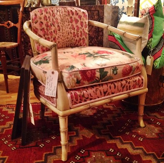 High Point goes vintage! Here is one half of a pair of 60s Palm Beach style armchairs, newly reupholstered in Dorothy Cummings fabric. Found at the Madcap Cottage antique and vintage booth in the Antique Center in Market Square
