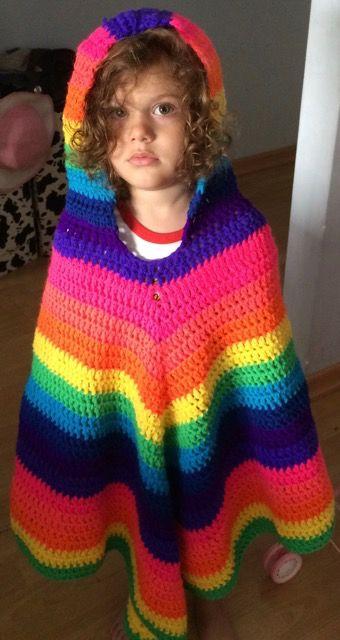 Crochet poncho multicolor