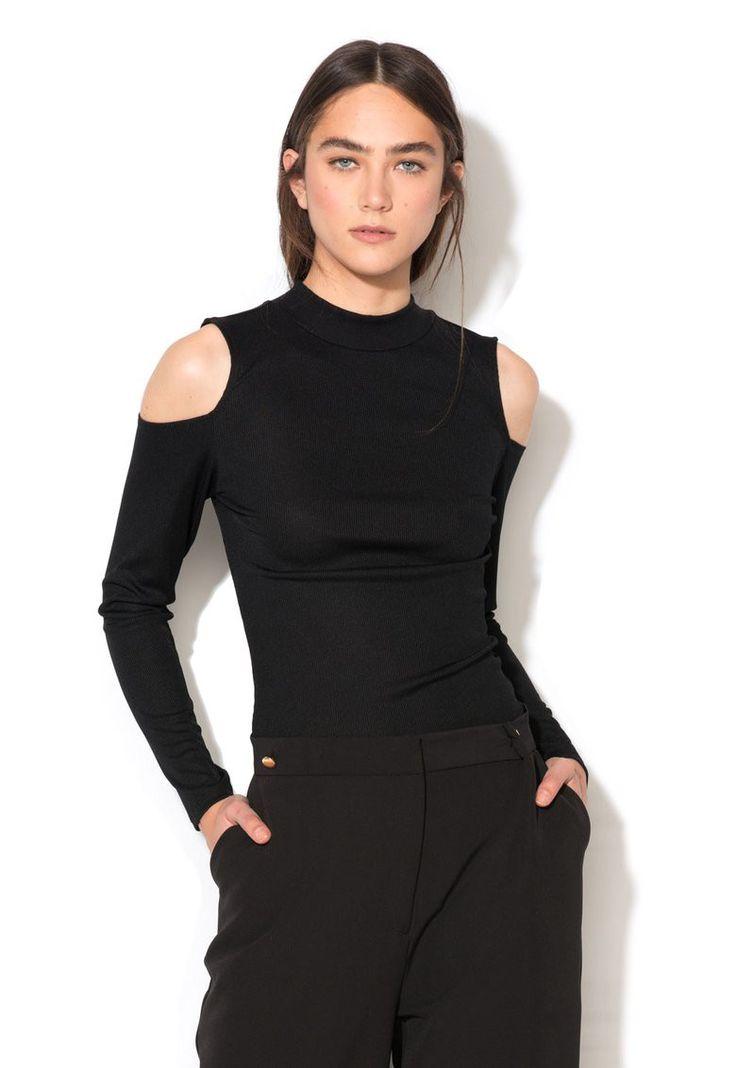 Bluza neagra cu decupaje pe umeri - New Look