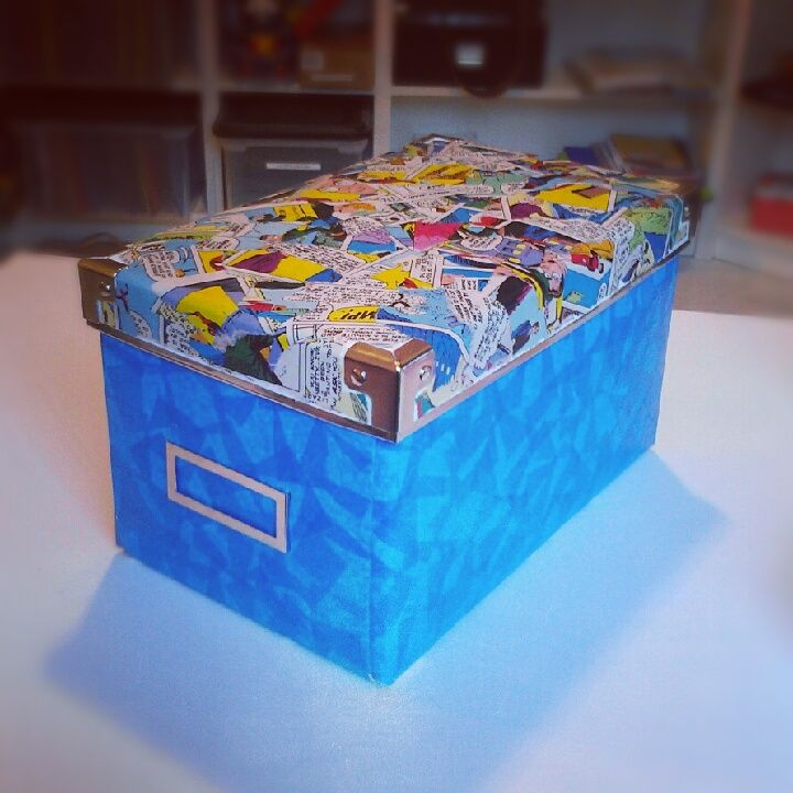 Decoupage ordinary boxes with comic books and tissue paper! Cool way to decorate a room or bookshelf.