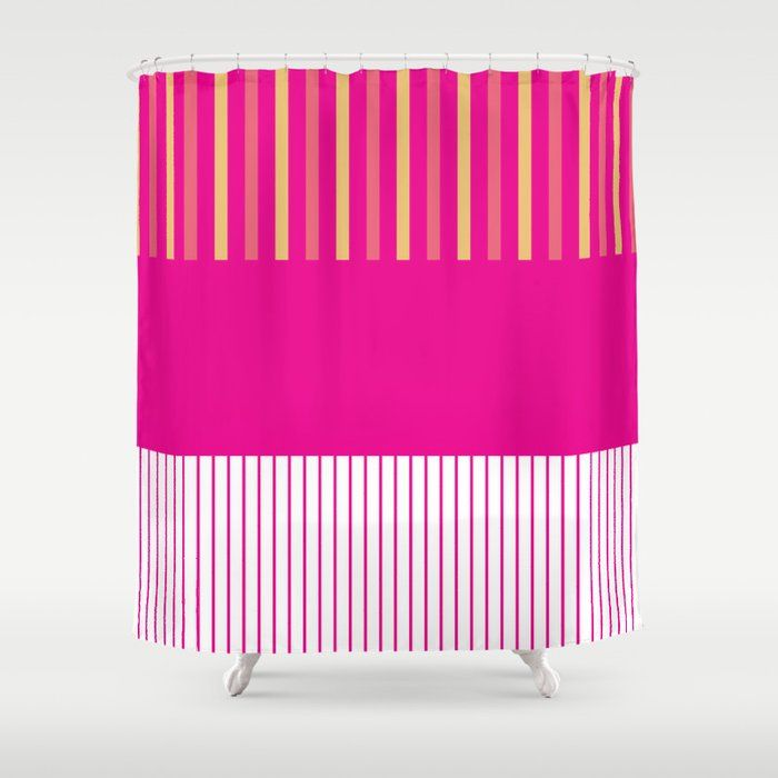 Colour Pop Stripes Hot Pink Shower Curtain By Laec Society6 In