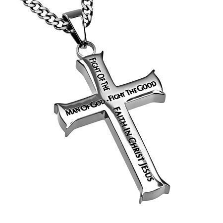 'Man of God' - Men's Iron Cross Necklace on SonGear.com - Christian Shirts, Jewelry