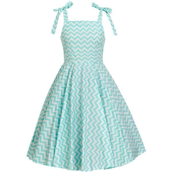 Mint Dress Chevron Dress Zig Zag Dress Retro Dress Sun Dress Swing... ($40) ❤ liked on Polyvore featuring dresses, trapeze dress, women plus size dresses, plus size trapeze dress, plus size birthday dresses and swing dress