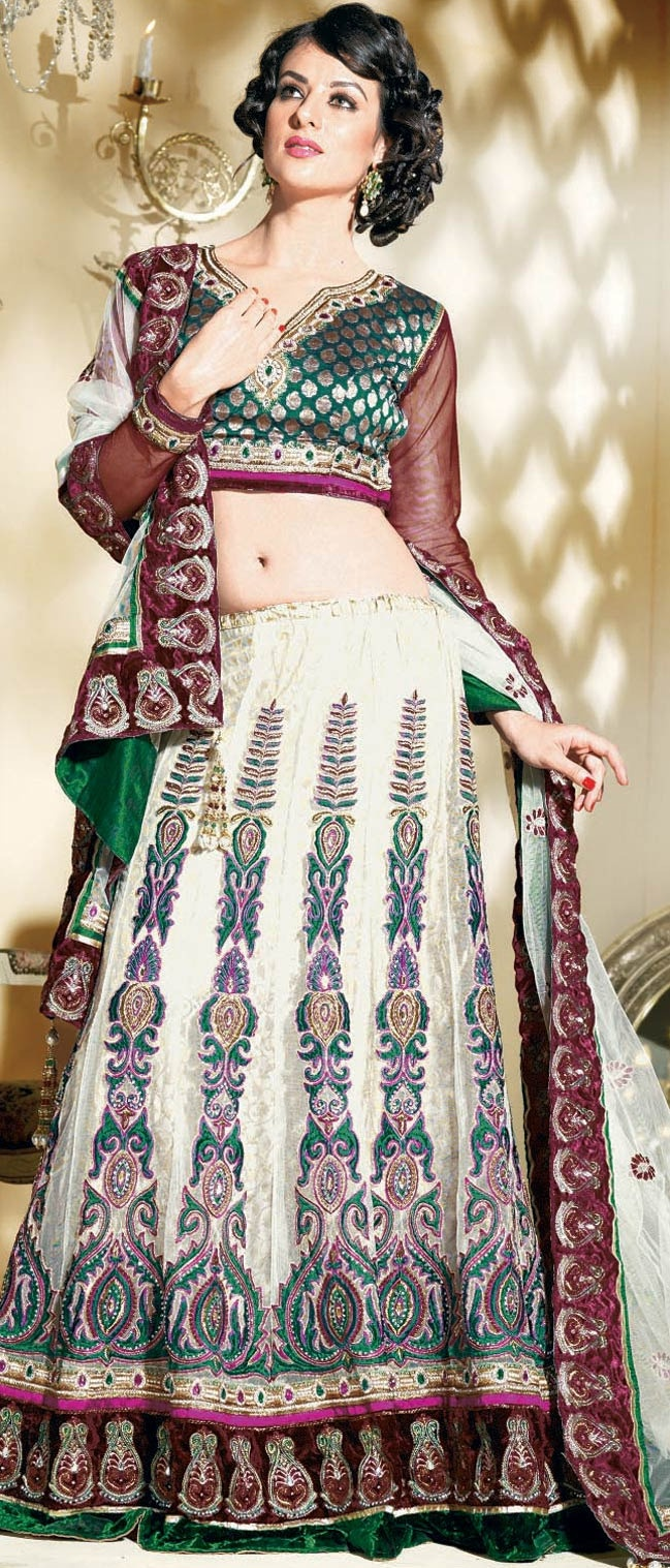 Cream and Maroon Net A-Line Lehenga Choli with Dupatta @ $236.57 | Shop @ http://www.utsavfashion.com/store/sarees-large.aspx?icode=ldw365b