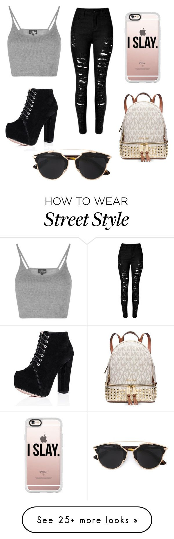 """""""street style"""" by ashleaxlou on Polyvore featuring Topshop, Casetify, Christian Dior and Michael Kors"""