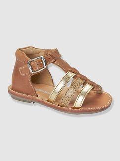 Sandales cuir ouvertes bébé fille  - vertbaudet enfant
