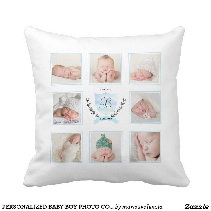 PERSONALIZED BABY BOY PHOTO COLLAGE WITH WREATH. Inspiration to create your product. The photograph must have good resolution. Inspiración para crear tu producto. La fotografía debe tener buena resolución. #cojín #pillows