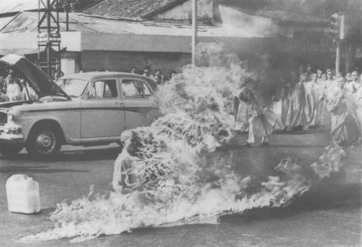 """1963; ..""""vietnamese monk, thich quang duc, who set himself on fire to protest the diem regime's ruthless persecution of buddhists"""""""