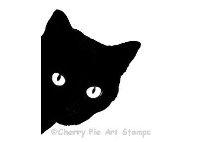 BLACK CAT rubber stamp silhouette cat face- CLiNG STAMP by Cherry Pie Art Stamps
