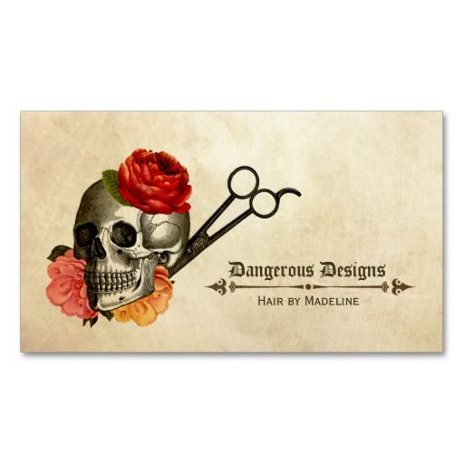 Skull vintage floral hairstylist hair stylist business for Hairdresser business card templates