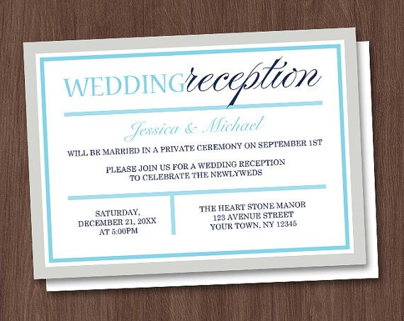 Green Brown Reception Only Invitations