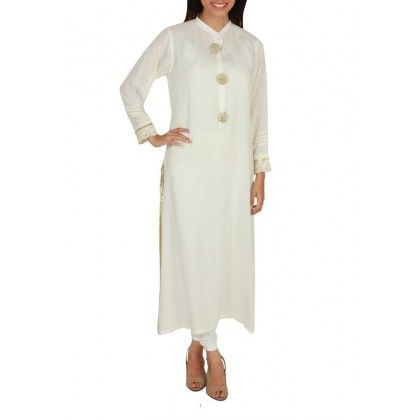 Off White Malai Lawn Kurta with Pintex on Collar with Golden Embroidered Buttons