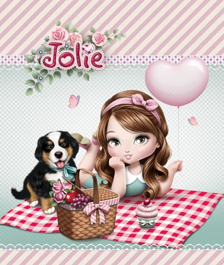 Girl Picnic with Dog